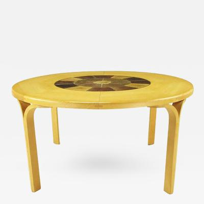 Round Inset Tile and Rift Cut Birch Y Leg Scandinavian Dining Table