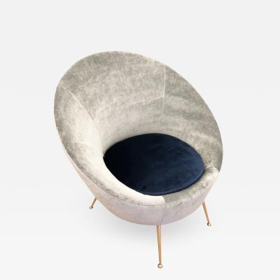 Round Italian Mid Century Lounge Chair