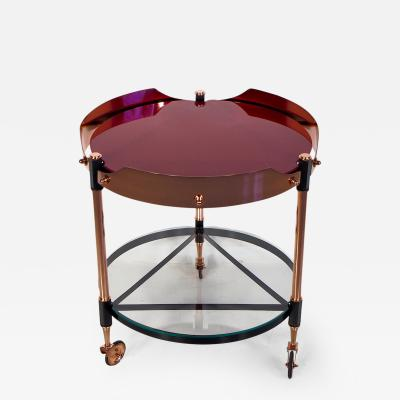 Round Italian Tray Table of Copper Lacquered Iron and Glass