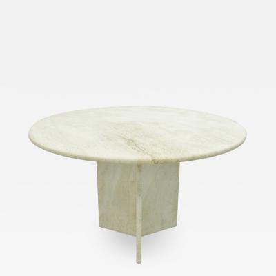 Round Travertine Dining Table Italy 1970s