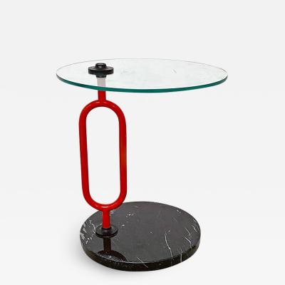 Round coffe table with marble base 1980s