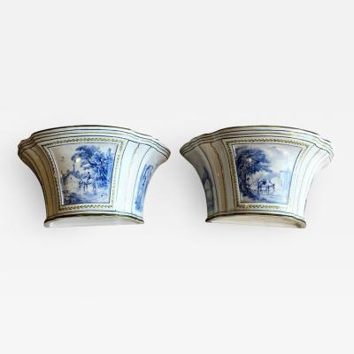Rovina Epinal Pair of Porcelain Bouquetieres Signed Rovina Epinal