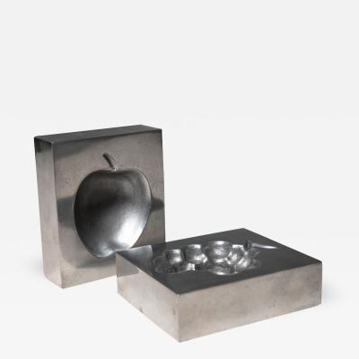 Roy Adzak Pair of Aluminum Ashtrays by Roy Adzak for Atelier A