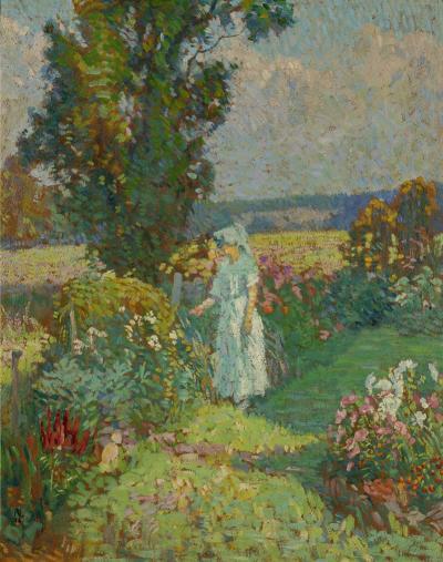 Roy Cleveland Nuse In Her Flower Garden