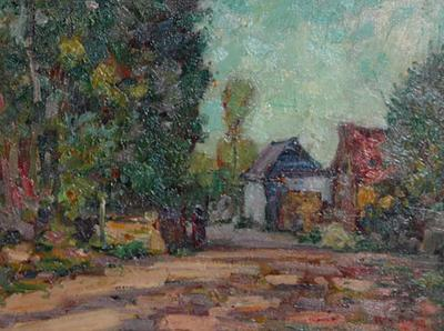 Roy H Brown American Impressionistic Oil on Board by Roy Brown