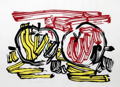 Roy Lichtenstein Red Apple and Yellow Apple from Seven Apple Woodcuts Series