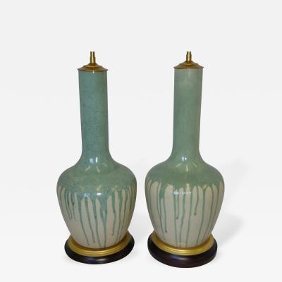 Royal Arden Hickman Exciting Pair of Tall Neck Bottle Form Vases with Drip Glaze as Lamps