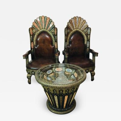 Royal Chairs and Table Leather Brass Bone and Natural Stones Inlay