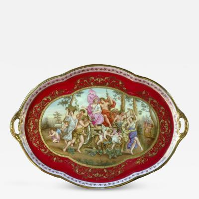 Royal Vienna Porcelain Tray Decorated with a Classical Scene