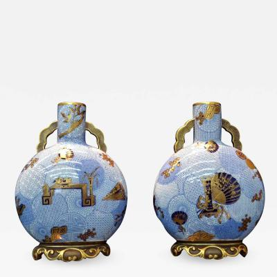 Royal Worcester A Pair of Japonisme Porcelain Moon Flask Vases Royal Worcester