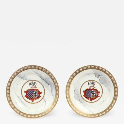 Royal Worcester Pair of Barr Flight Barr Armorial Plates c 1810