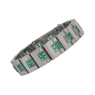 Rubel Fr res Rubel Freres French Retro Diamond Emerald and White Gold Bracelet