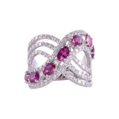Ruby Diamond 18KW Wide Ring