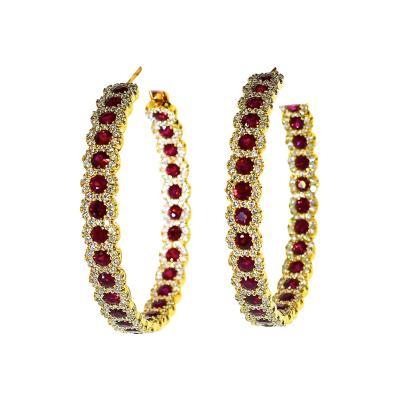 Ruby and Damond Hoop Style Earrings
