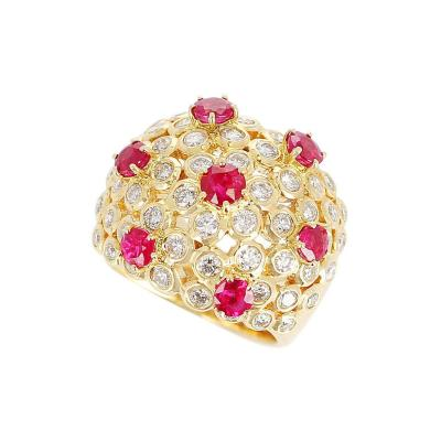 Ruby and Diamond Cocktail Cluster Ring 18 Karat Yellow Gold