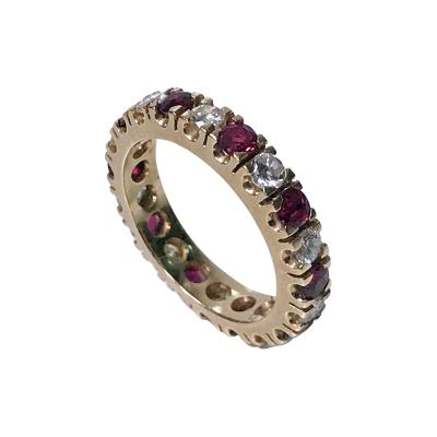 Ruby and Diamond Eternity Ring 14K