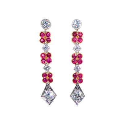 Ruby and Diamond Pendant Style Earrings