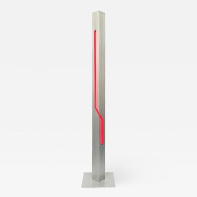 Rudi Stern Rare Red Neon and Aluminum Floor Lamp by Rudi Stern and Don Chelsea for Kovacs