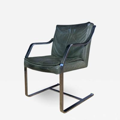Rudolf Bernd Glatzel 1970s Rudolf Glatzel Steel Green Leather Armchair Knoll Germany