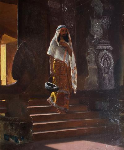 Rudolf Ernst A Fine Orientalist Painting Depicting a Man Entering the Temple by Rudolf Ernst