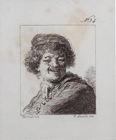 Rudolfo Novelli Rembrandt Etching 34 by Francesco Novelli Circa 1770