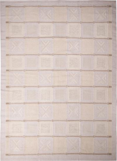 Rug Kilims Scandinavian Inspired Cream Gray Light Blue Wool Pile Rug