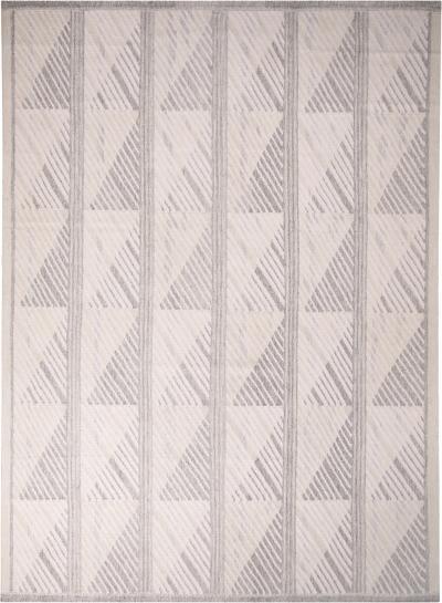 Rug Kilims Scandinavian Inspired Geometric Gray White Natural Wool Pile Rug