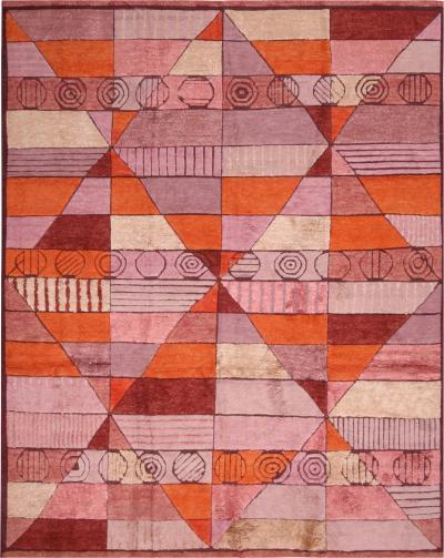 Rug Kilims Scandinavian Inspired Orange and Purple Pink Wool Pile Rug