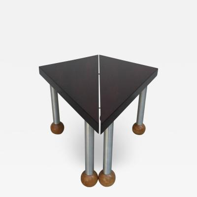 Russel Wright Pair Triangular Tables Spun Aluminum Legs Blonde Mahogany Ball Feet