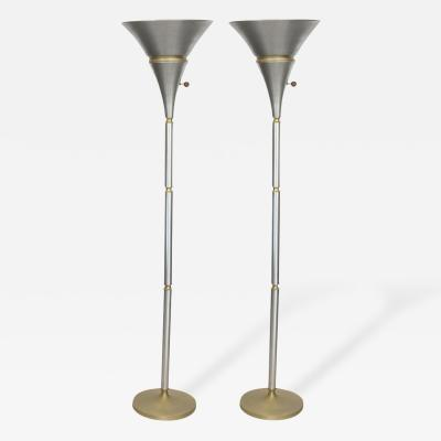 Russel Wright Pair of Aluminum and Brass Torchiere Lamps by Russel Wright