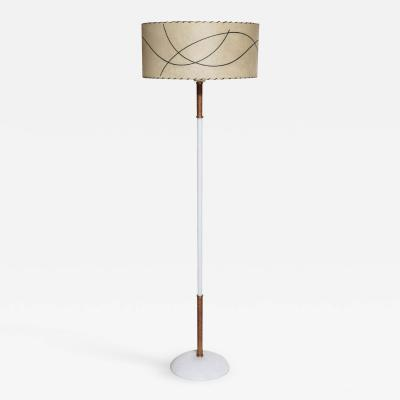Russel Wright Russel Wright Style Raffia Wrapped White Floor Lamp with Glass Shade 1950s