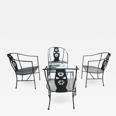 Russell Woodard Five Piece Black Montego Patio Set