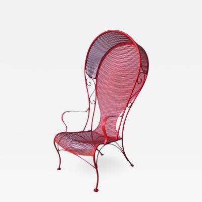 Russell Woodard Mid Century Modern Russell Woodard Canopy Patio Chair in Red Wrought Iron
