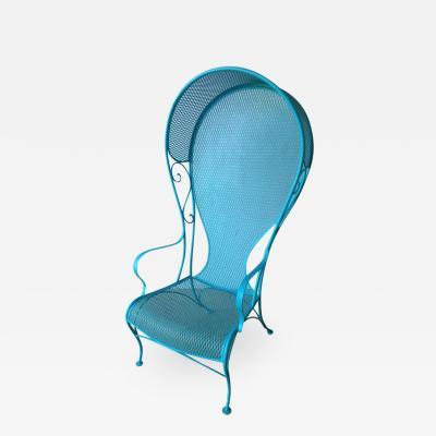 Russell Woodard Mid Century Modern Russell Woodard Wrought Iron Canopy Patio Chair in Blue