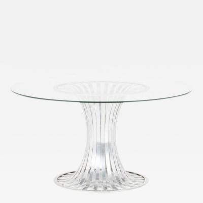 Russell Woodard Russell Woodard Aluminium Dining Table with Glass Top circa 1960