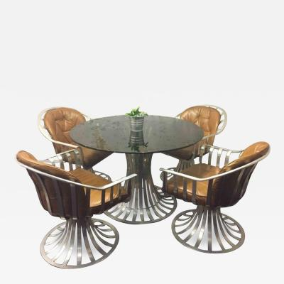 Russell Woodard Russell Woodard Dining Set Table and Four Chairs Aluminium
