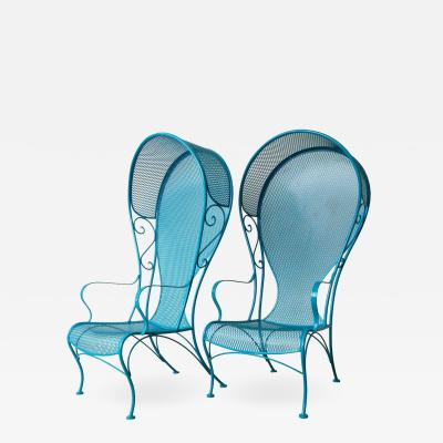 Russell Woodard Two Mid Century New Blue Modern Russell Woodard Wrought Iron Canopy Patio Chairs
