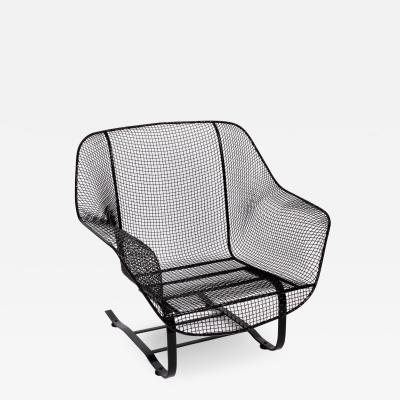 Russell Woodard Woodard Furniture Russell Woodard Black Sculptura Spring Lounge Armchair 1950s