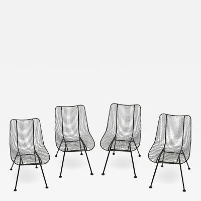 Russell Woodard Woodard Furniture Set of 4 Russell Woodard Original Black Sculptura Dining Side Chairs
