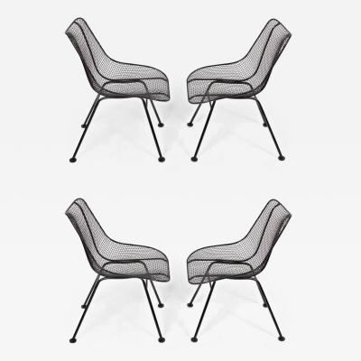 Russell Woodard Woodard Furniture Set of 4 of Russell Woodard Black Wrought Iron Sculptura Dining Side Chairs