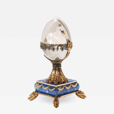 Russian 14 Karat Gold Diamonds Emeralds Lapis Lazuli and Glass Egg with Swan