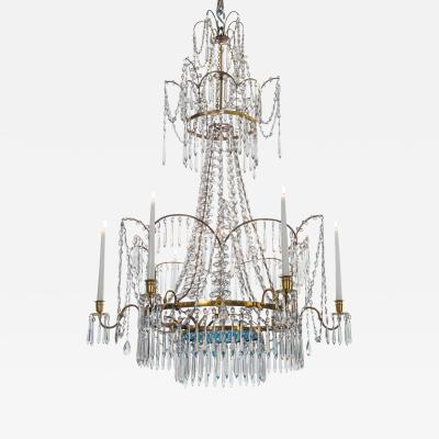 Russian Cut Glass Silvered and Gilt Bronze 7 Light Neoclassical Chandelier