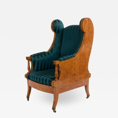 Russian Neoclassic Silk Winged Arm Chair