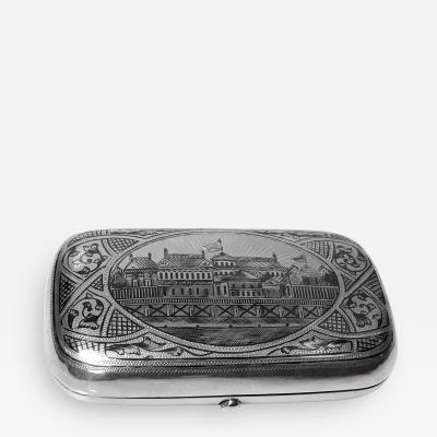Russian Niello Silver Cigarette Cheroot Case Moscow 1887 Andrey Postnikov
