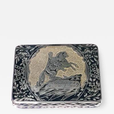 Russian Silver Niello Snuff Box Nikola Lukich Dubrovin 1824