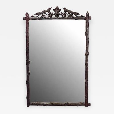 Rustic Black Forest Walnut Vertical Wall Mirror