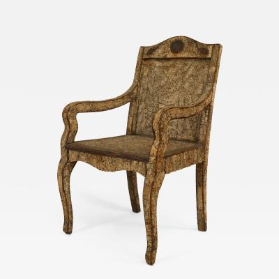 Rustic Continental Neoclassic Style Cork Twig Arm Chair