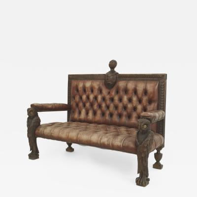 Rustic Continental Walnut Carved Loveseat