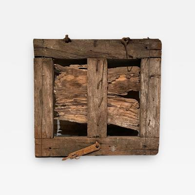 Rustic Mesquite Window with Forged Iron Hardware Jalisco Hacienda 1940s
