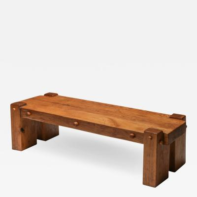 Rustic Modern Rectangular Coffee Table in Solid Oak 1960s